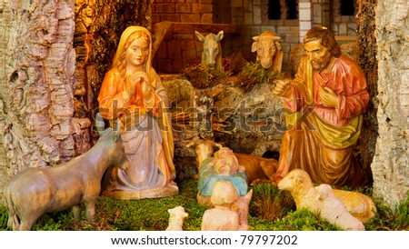Christmas Nativity Scene - Baby Jesus, Mary, Joseph.