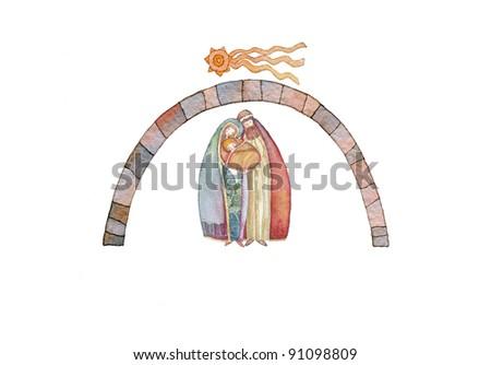 Christmas nativity scene: Jesus Christ , Joseph, Mary - stock photo