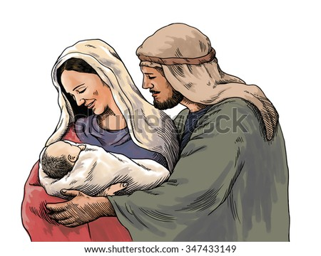 Christmas nativity scene of Joseph and Mary holding baby Jesus, hand drawn illustration, isolated on white background - stock photo