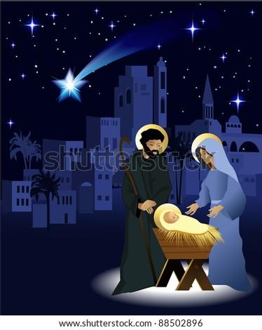 Christmas nativity scene with holy family - stock photo