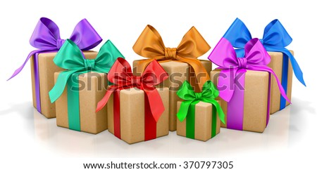 christmas, new year, birthday for  yellow gift box and  colorful bow 3d render - stock photo