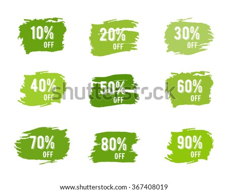 Christmas, new year, black friday, cyber monday or winter autumn sale percents. paint watercolor ink brush, splash. Green palette discount elements. Discounts template. Hand drawn design. - stock photo