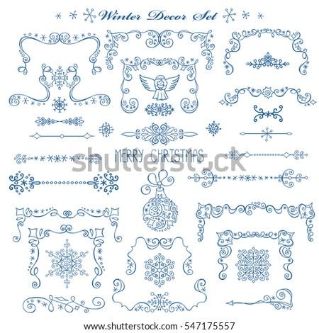 christmasnew year decorcorners elements set vintage framesborderswinter - Winter Frames