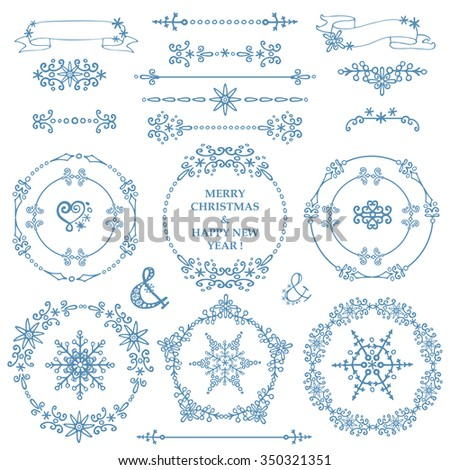 Christmas,New year decor elements set.Circle frame wreath.Doodles border,arrows.For design templates,invitations,wedding,Valentines day,holidays,decorative menu,birthday.Winter love  - stock photo