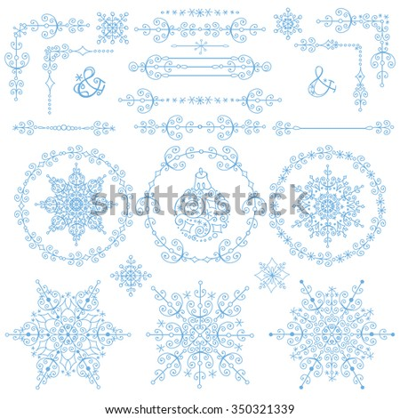 Christmas,New year decoration set.winter Doodles border,corners,wreath Frames ,Snowflakes decorative elements.For design templates,invitations,wedding,Valentines day,holidays,menu,birthday.Winter love - stock photo