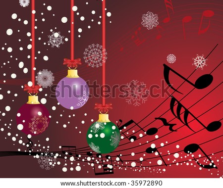 Christmas (New Year)greeting postcard with musical staff. In my portfolio also available vector version of this picture.