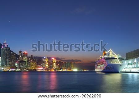 Christmas night at Hong Kong - stock photo