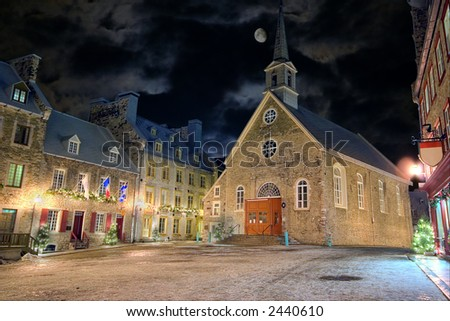 Christmas night at Place-Royale, Quebec City, Canada - stock photo