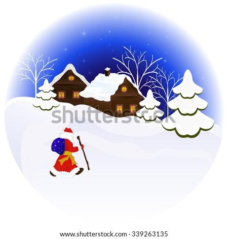 Christmas night illustration with Santa Claus.  - stock photo