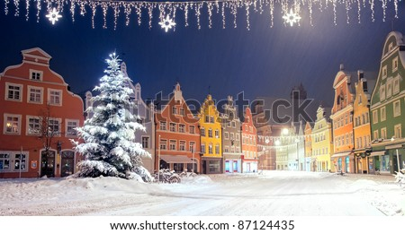 Christmas night in german town by Munich - stock photo