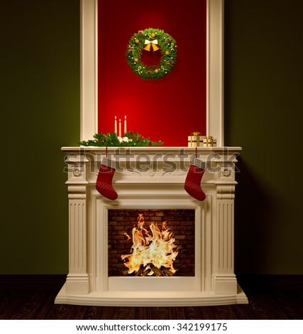 Christmas night interior with fireplace, wreath, stockings, gifts, candles decoration 3d rendering - stock photo