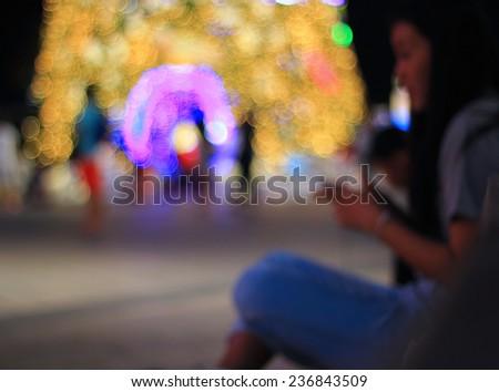 christmas night light lonely - stock photo
