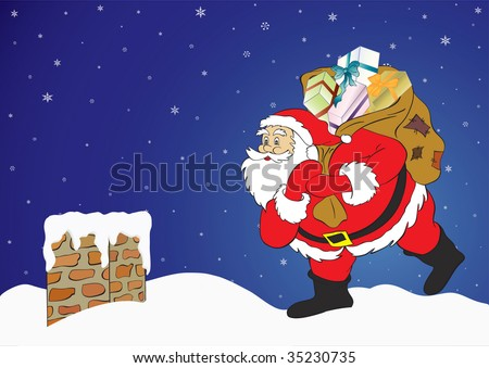 Christmas night, Santa Claus with presents in a chimney. - stock photo