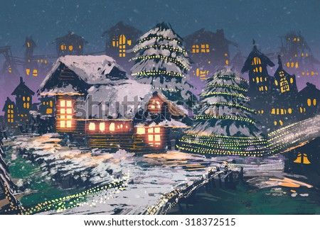 Christmas night scene of wooden houses with a christmas lights,illustration painting - stock photo