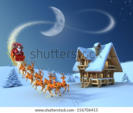 Christmas night scene - Santa Claus rides reindeer sleigh in front of the log house - stock photo