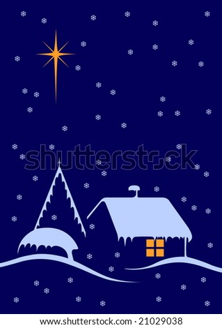 Christmas night scene with big star and snow