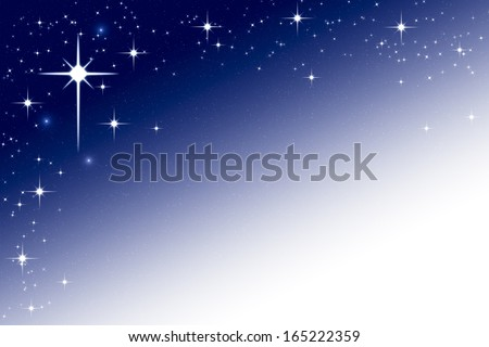 Christmas Night Sky Background Frame with Stars Blue White Gradient - stock photo
