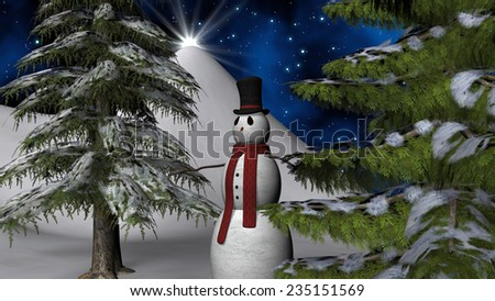 Christmas night star with a Snowman and two fir trees  - stock photo