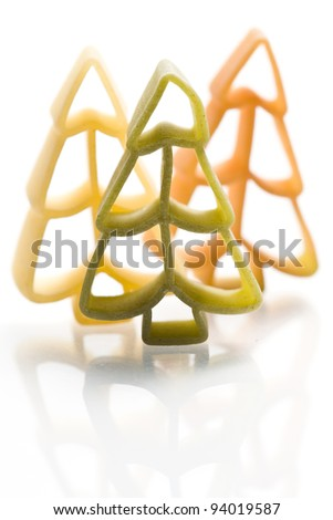christmas noodles pasta isolated on white ground - stock photo