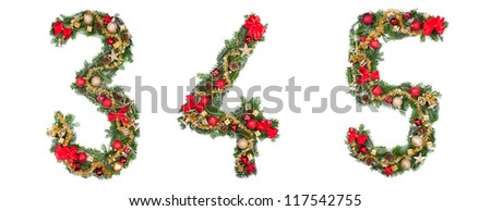 Christmas numbers, isolated on white background - stock photo