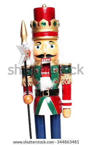 Christmas nutcracker king closeup - with mouth opened - stock photo