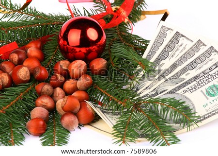 Christmas Nuts and bulb on fir and $500 money - stock photo