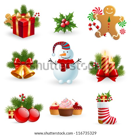 Christmas object element - fir tree snowman gingerbread gift candle sock bell ball holy berry. Check my portfolio for vector version.