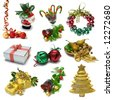 Christmas Objects sampler with clipping paths - stock photo