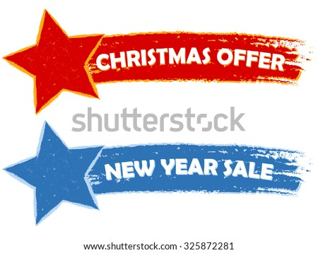 Christmas offer, new year sale - two drawn banners - stock photo
