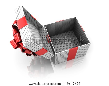 Christmas opened present, 3d image - stock photo
