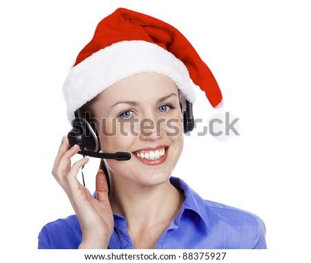 Christmas operator woman, isolated on white background - stock photo