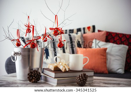home decor photography. Christmas or new year decoration on modern wooden coffee table  Cozy sofa with pillows Modern Wooden Coffee Table Sofa Stock Photo 289819505