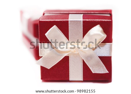 Christmas or valentine's day gift. Shallow depth of field, isolated on white background.