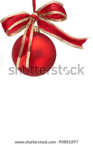 Christmas Ornament and Bow on White Background - stock photo