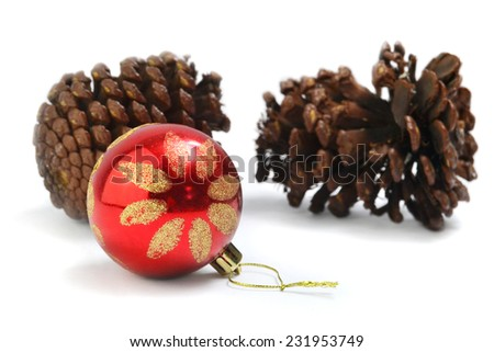 Christmas ornament and conifer cones - stock photo