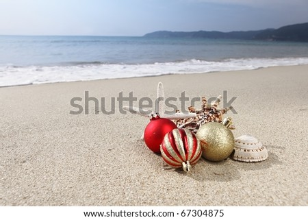 Christmas ornament at  beach,Concept. - stock photo