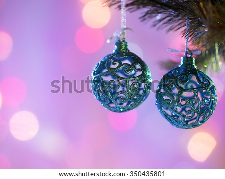 christmas ornament ,blue christmas ball with shallow depth of field - stock photo