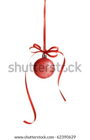 Christmas Ornament - Christmas ball and red bow - stock photo