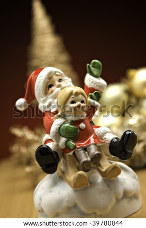 christmas ornament decoration on display on table - stock photo