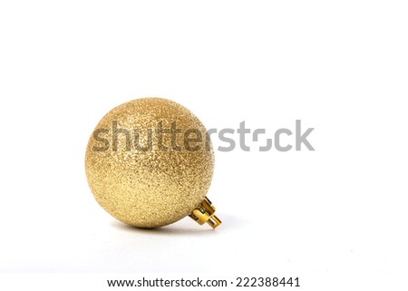 christmas ornament, golden ball with shiny texture - stock photo
