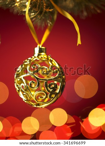 Christmas ornament hanging, with copy space - stock photo