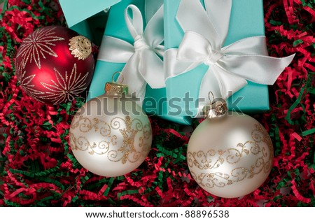 Christmas ornament made from gift boxes and Christmas balls - stock photo