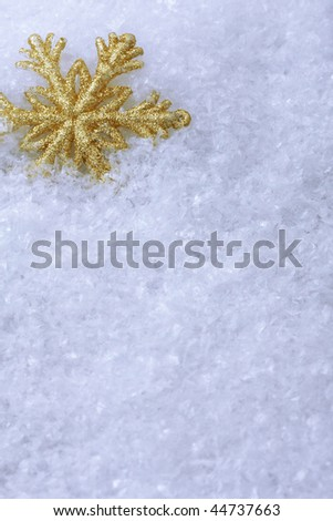 Christmas ornament on a snow background