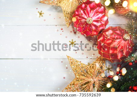 Christmas Ornament On Wooden Background With Snowflakes,  Merry Christmas and Happy New Year