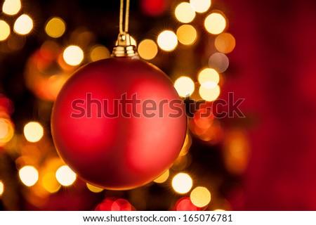 Christmas ornament red ball - stock photo
