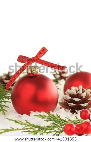 Christmas ornament snow scene. - stock photo