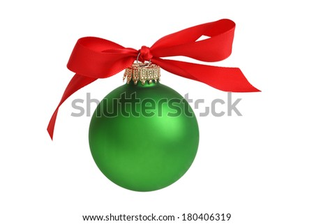 Christmas ornament with bow, cutout, isolated on white background - stock photo
