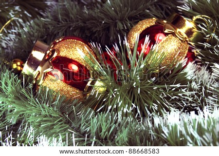 Christmas ornament with mistletoe and Christmas balls - stock photo