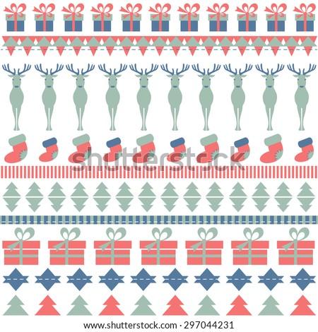 Christmas ornamental pattern with deer. Raster version - stock photo