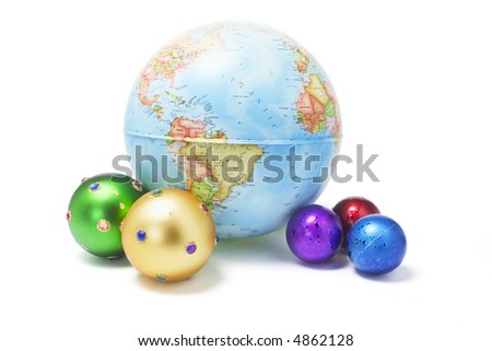 Christmas Ornaments and Globe on White Background - stock photo